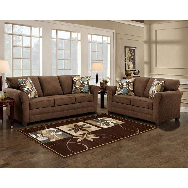 Shop Sofa Trendz Brooklyn Brown Microfiber Sofa And Love