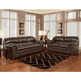 Sofa Trandz Browning Chocolate Bonded Leather Sofa and Loveseat (Set of 2)