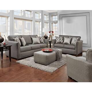 Oliver James Ascalon Grey Chenille Sofa And Loveseat Set