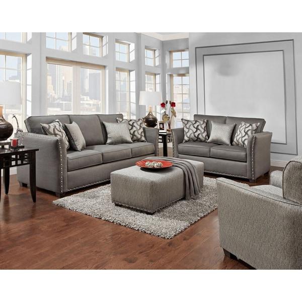 Sofa Trendz Brice Grey Chenille Sofa And Loveseat (Set Of 2)