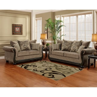 Sofa Trendz Brooke Taupe/Brown Wood/Microfiber Sofa and Loveseat (Set of 2)