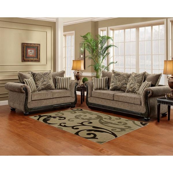 Sofa Trendz Brooke TaupeBrown WoodMicrofiber Sofa and