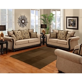 Sofa Trendz Bowen Taupe Microfiber Sofa And Loveseat Set