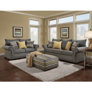 Sofa Trendz Blair Grey Microfiber Sofa, Loveseat and Accent Ottoman (Pack of 3)