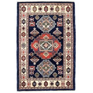 Herat Oriental Afghan Hand-knotted Kazak Navy/ Ivory Wool Rug (2'9 x 4'1)