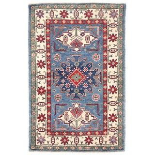 Herat Oriental Afghan Hand-knotted Kazak Wool Rug (2'8 x 4'1)