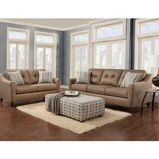 Sofa Trendz Brynn Wheat Tan Fabric Sofa and Loveseat