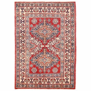 Herat Oriental Afghan Hand-knotted Kazak Red/ Ivory Wool Rug (3'2 x 4'7)