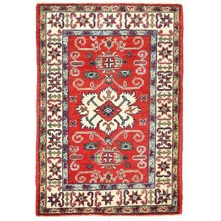 Herat Oriental Afghan Hand-knotted Kazak Red/ Ivory Wool Rug (2'9 x 4')