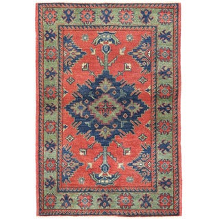 Herat Oriental Afghan Hand-knotted Kazak Red/ Green Wool Rug (2'8 x 4')