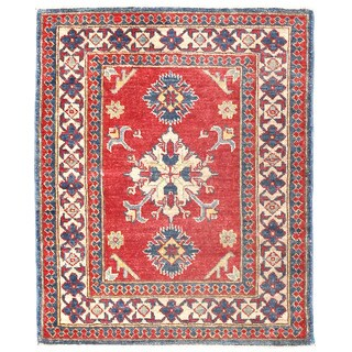 Herat Oriental Afghan Hand-knotted Kazak Red/ Ivory Wool Rug (2'7 x 3'2)