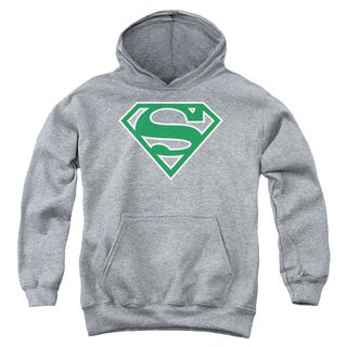 Youth Superman/Green & White Shield Athletic Heather Pullover Hoodie