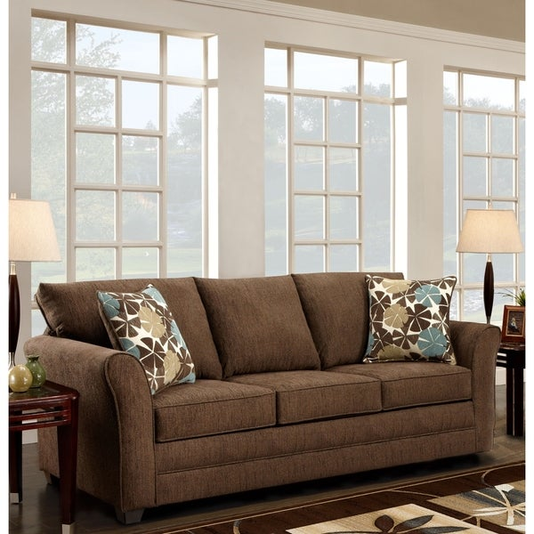 Shop Sofa Trendz Brooklyn Fudge Brown Microfiber Sofa   Free Shipping Today    Overstock   11836815