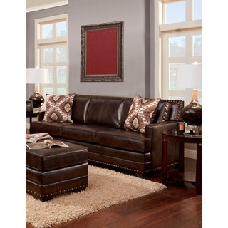 SOFA TRENDZ Bruce Brown Faux Leather Sofa