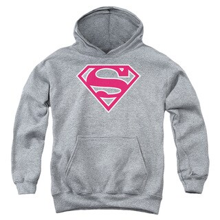 Superman/Red & White Shield Athletic Heather Youth Pullover Hoodie