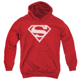 Youth Superman/Red & White Shield Red Pullover Hoodie