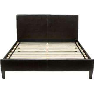 Hanover Downtown Brown Leather Full Platform Bed Frame