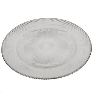 13-inch Glass Charger With Silver Rim