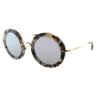 Miu Miu MU 13NS HAO2E2 Matte Havana Plastic Round Grey Mirror Lens Sunglasses