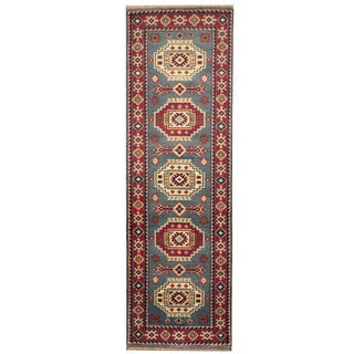 Herat Oriental Indo Hand-knotted Kazak Light Blue/ Red Wool Runner (2'7 x 8')