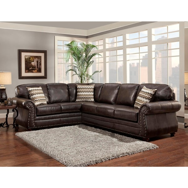 Shop sofa trendz bindy saddle faux leather sectional free shipping today for Faux leather living room furniture