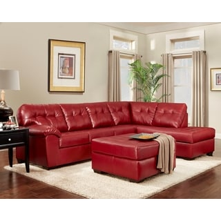 Sofa Trendz Becky Red Faux Leather Sectional and Ottoman (Set of 2)