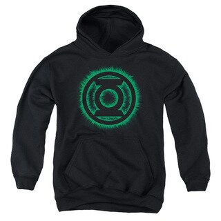 Green Lantern/Green Flame Logo Youth Black Pull-over Hoodie