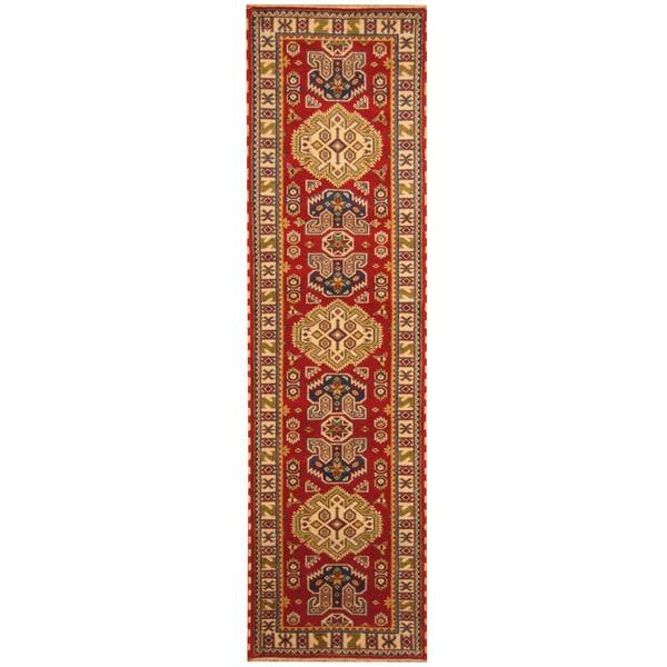 Herat Oriental Indo Hand-knotted Kazak Wool Runner (2'8 x 10')