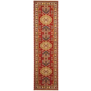 Herat Oriental Indo Hand-knotted Kazak Red/ Ivory Wool Runner (2'8 x 10')