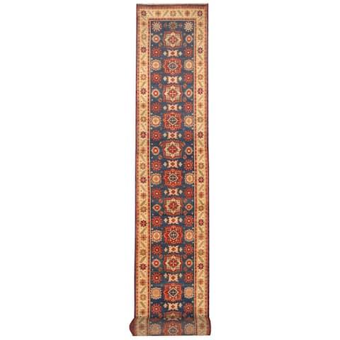 Handmade Kazak Wool Runner (India) - 2'7 x 20