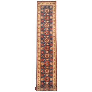 Herat Oriental Indo Hand-knotted Kazak Blue/ Ivory Wool Runner (2'7 x 20)