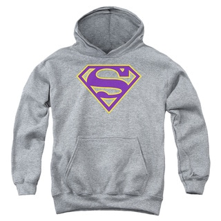 Superman/Purple & Gold Shield Youth Pull-Over Hoodie in Athletic Heather