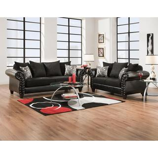 Sofa Trendz Quincy Black Fabric/Faux Leather/Polyester Blend Sofa and Loveseat (Set of 2)