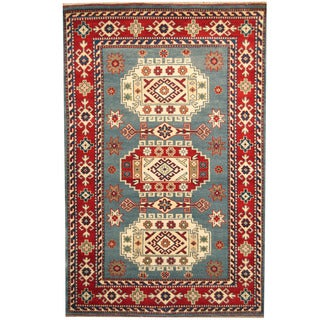 Herat Oriental Indo Hand-knotted Kazak Light Blue/ Red Wool Rug (6' x 9')