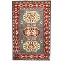 Handmade Herat Oriental Indo Kazak Light Blue/ Red Wool Rug - 6' x 9' (India)
