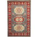 Herat Oriental Indo Hand-knotted Kazak Light Blue/ Red Wool Rug (6' x 9')