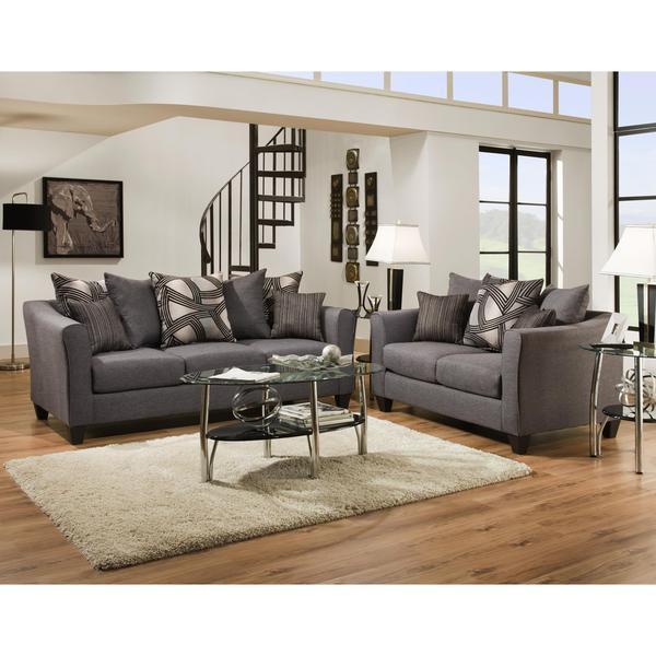 Sofa Trendz Angelo Grey Microfiber Sofa And Loveseat Set Of 2 Free Shipping Today