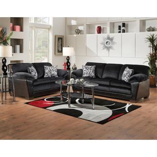 Sofa Trendz Connie Black Microfiber Sofa and Loveseat