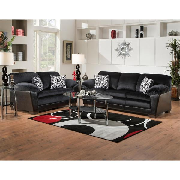 Shop Sofa Trendz Connie Black Microfiber Sofa And Loveseat Free