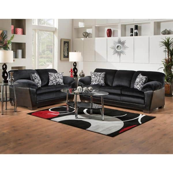 Stupendous Shop Sofa Trendz Connie Black Microfiber Sofa And Loveseat Cjindustries Chair Design For Home Cjindustriesco