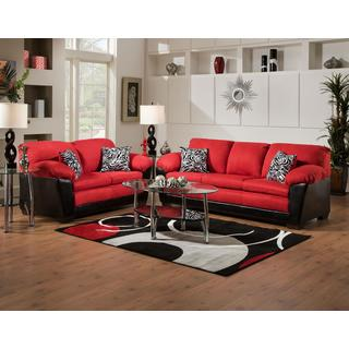 Sofa Trendz Maridelsa Red Microfiber Sofa and Loveseat
