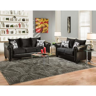 Sofa Trendz May Black Microfiber/Faux Leather Sofa and Loveseat