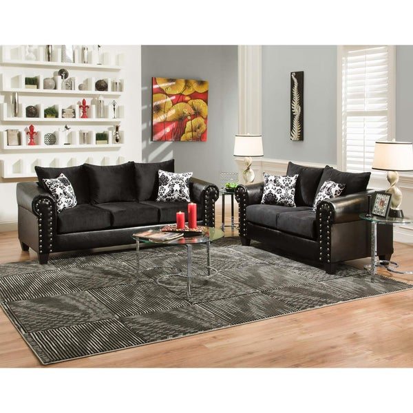 Shop Sofa Trendz May Black Microfiber Faux Leather Sofa And Loveseat