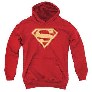 Superman Youths' Red & Gold Shield Red Pull-over Hoodie