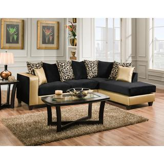 Sofa Trendz Melody Gold/Black Microfiber Sectional  sc 1 st  Overstock.com : micro fiber sectionals - Sectionals, Sofas & Couches