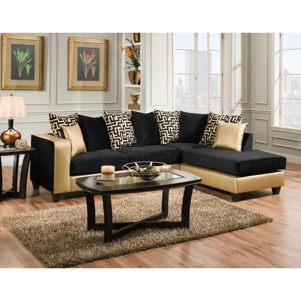 Sofa Trendz Melody Gold Black Microfiber Sectional Free Shipping Today 11836909