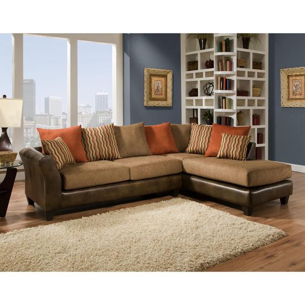 Sofa Trendz Sevyn Mocha Microfiber Sectional