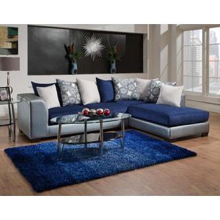 Sofa Trendz Amy Blue Microfiber/Polyurethane Sectional