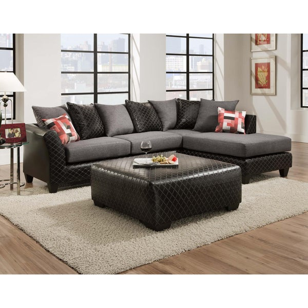 Shop Sofa Trendz Dalin Black Microfiber Sectional Sofa