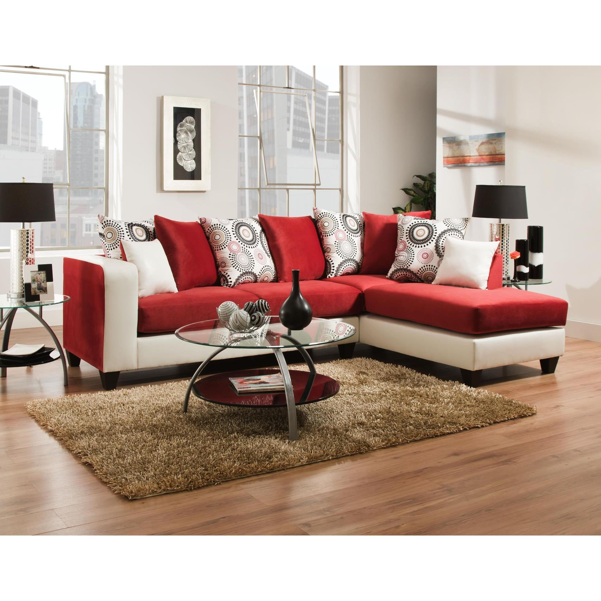 Sofa Trendz Analese Red Microfiber Sectional Sofa (Anales...